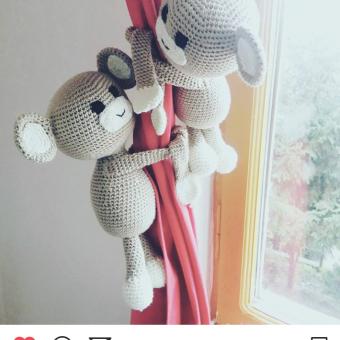 Amigurumi Perde Tutacağı Maymunlar